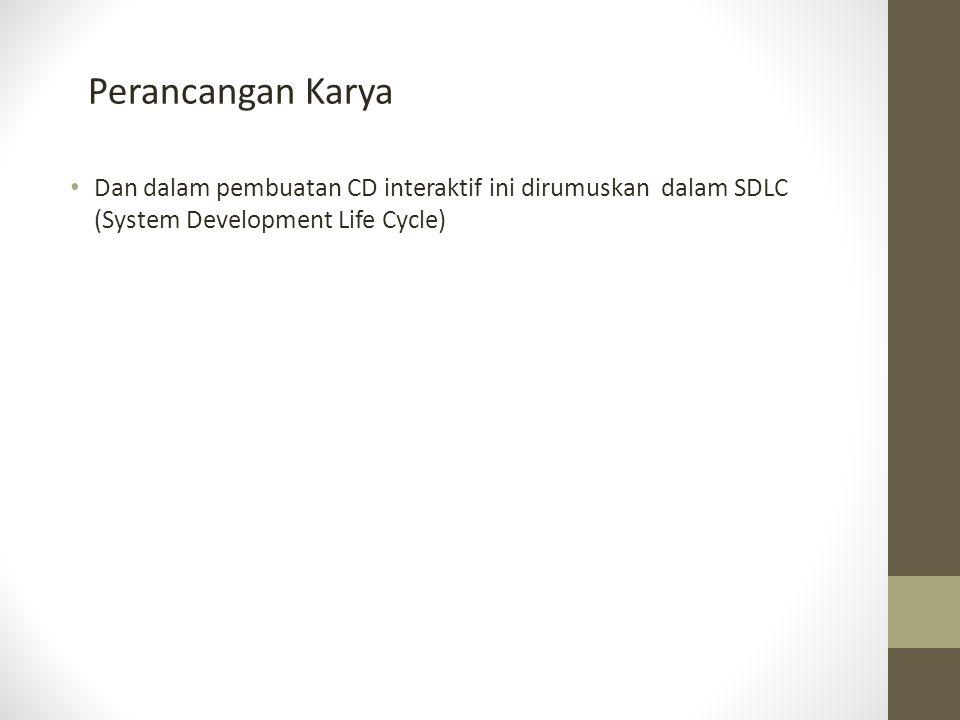 Perancangan Karya Dan dalam pembuatan CD interaktif ini dirumuskan dalam SDLC (System Development Life Cycle)