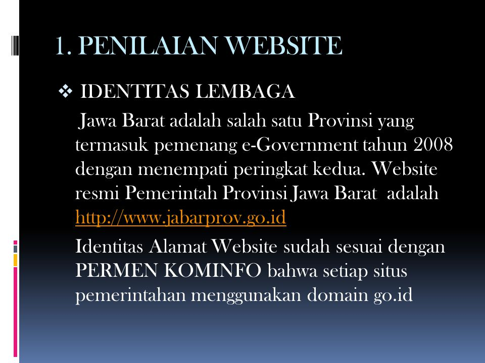 1. PENILAIAN WEBSITE IDENTITAS LEMBAGA
