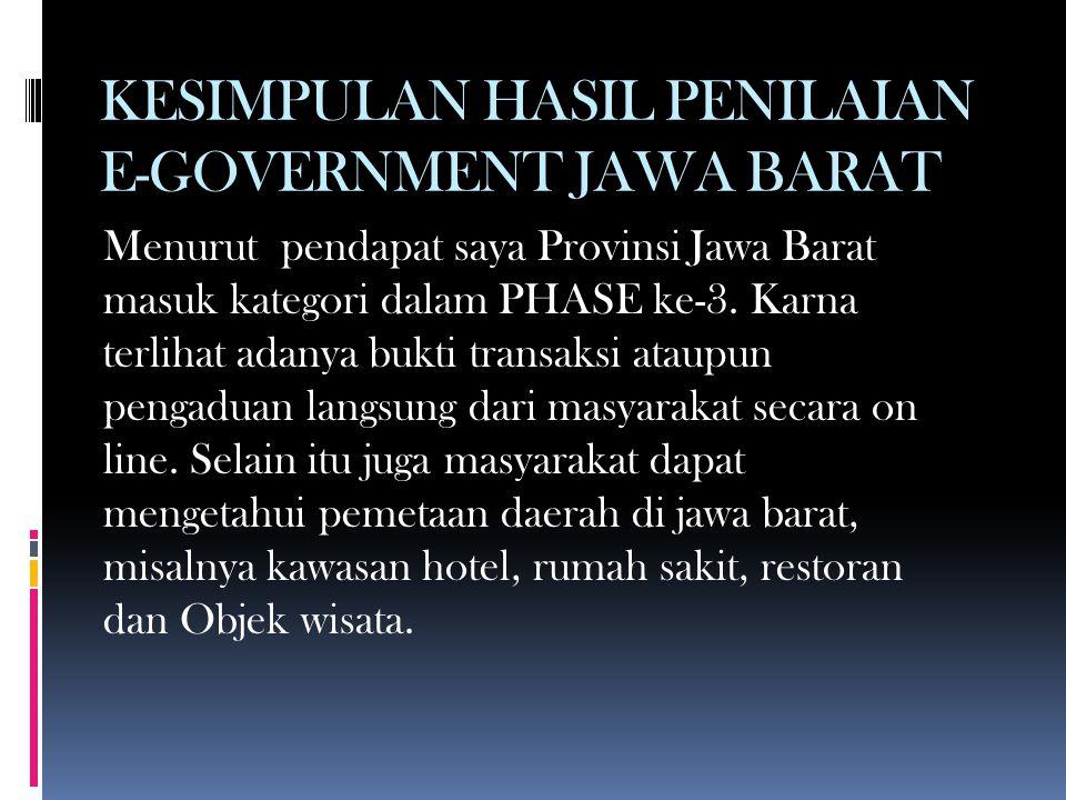 KESIMPULAN HASIL PENILAIAN E-GOVERNMENT JAWA BARAT