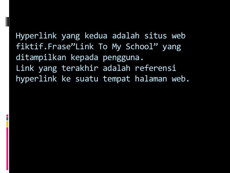 Hyperlink yang kedua adalah situs web fiktif