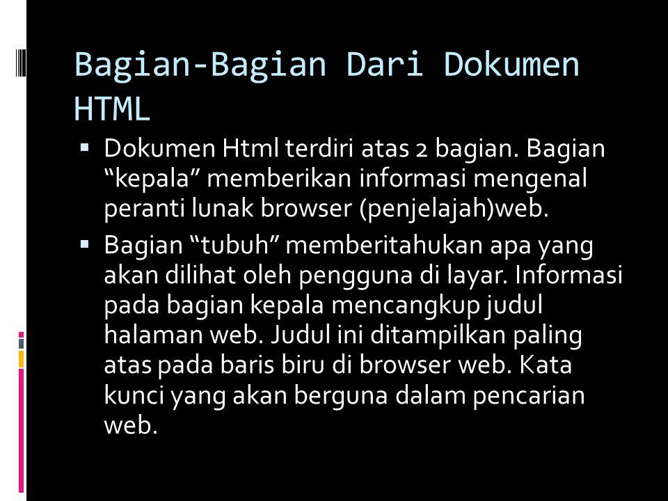 Bagian-Bagian Dari Dokumen HTML