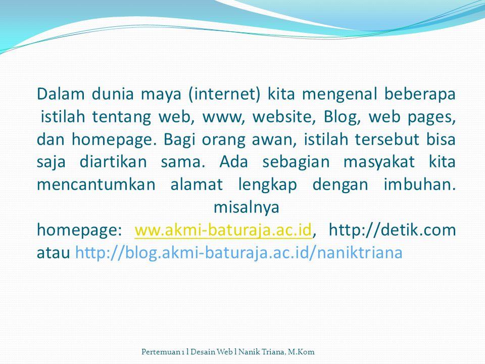 Dalam dunia maya (internet) kita mengenal beberapa istilah tentang web, www, website, Blog, web pages, dan homepage. Bagi orang awan, istilah tersebut bisa saja diartikan sama. Ada sebagian masyakat kita mencantumkan alamat lengkap dengan imbuhan. misalnya homepage: ww.akmi-baturaja.ac.id, http://detik.com atau http://blog.akmi-baturaja.ac.id/naniktriana
