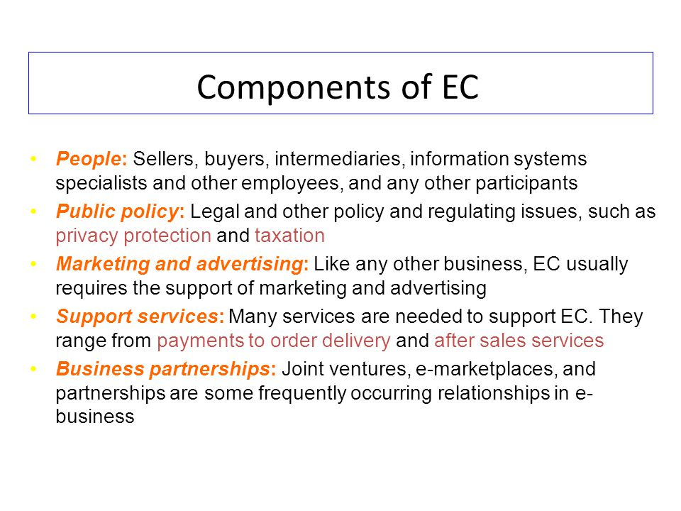 Components of EC People: Sellers, buyers, intermediaries, information systems specialists and other employees, and any other participants.