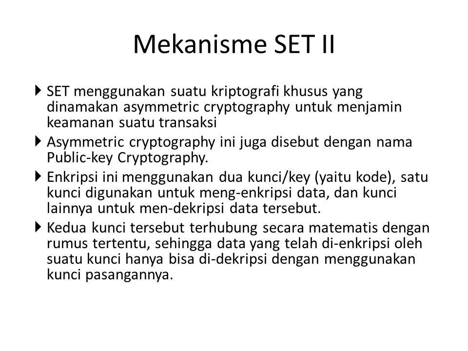 Mekanisme SET II SET menggunakan suatu kriptografi khusus yang dinamakan asymmetric cryptography untuk menjamin keamanan suatu transaksi.