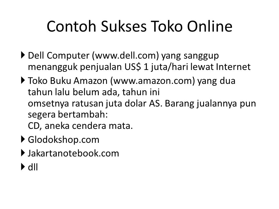 Contoh Sukses Toko Online