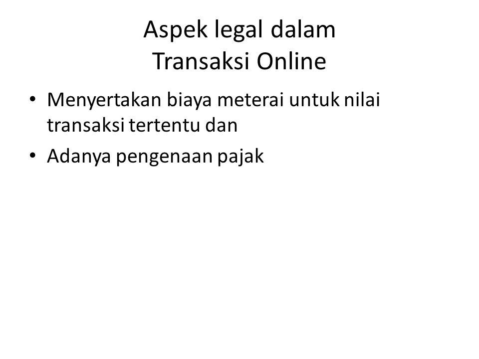 Aspek legal dalam Transaksi Online