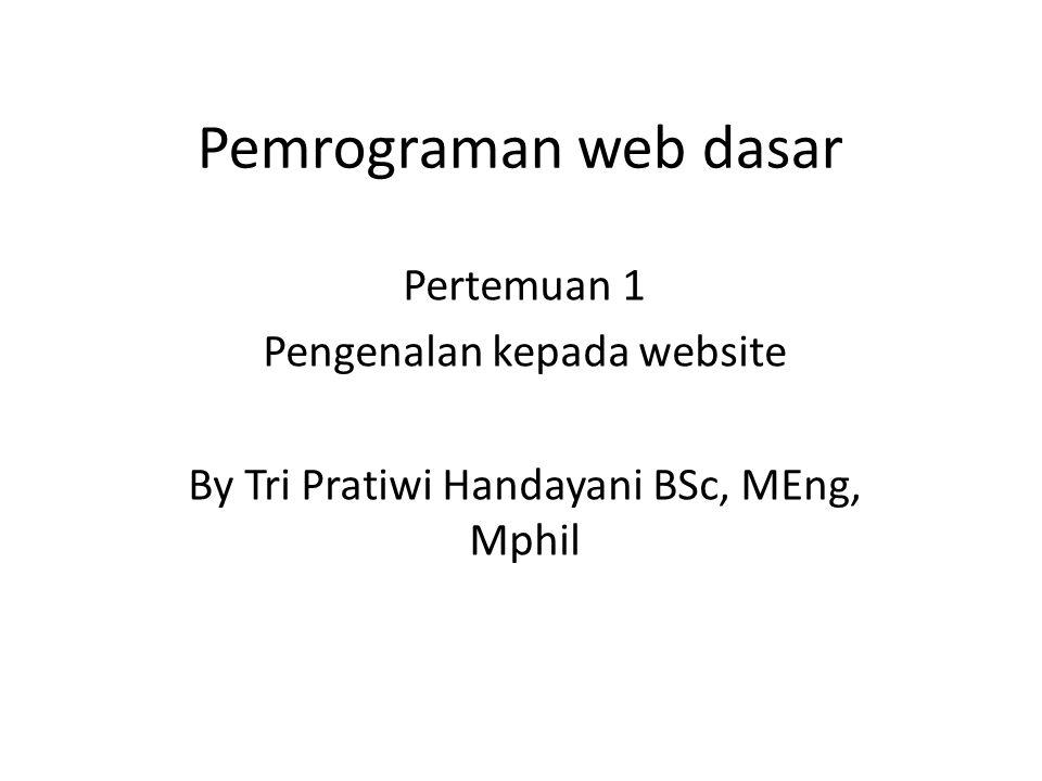 Pemrograman web dasar Pertemuan 1 Pengenalan kepada website