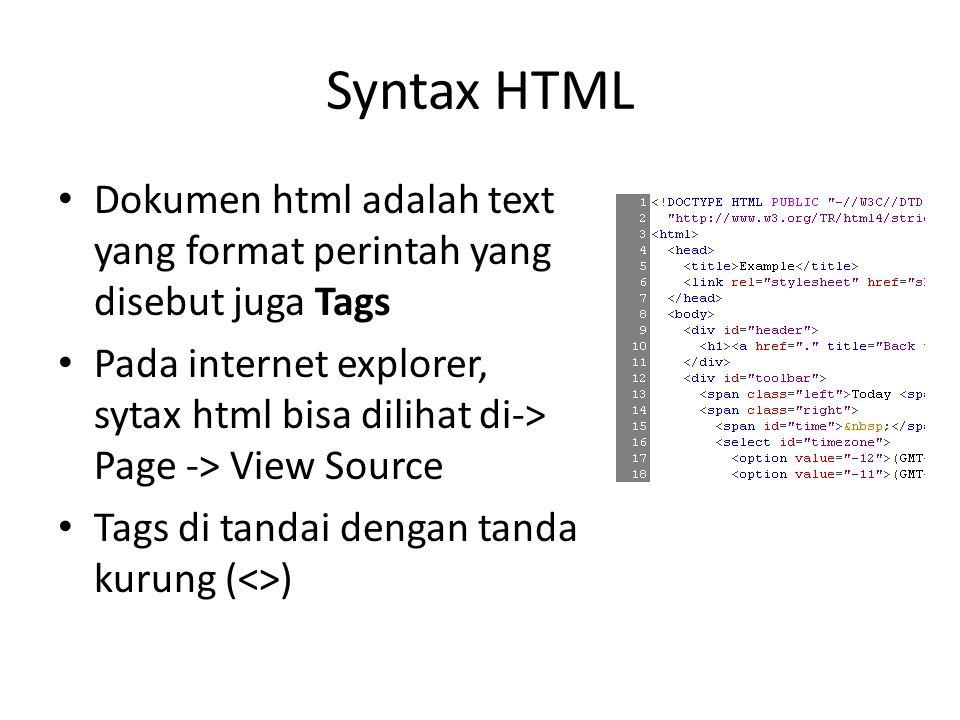 Syntax HTML Dokumen html adalah text yang format perintah yang disebut juga Tags.
