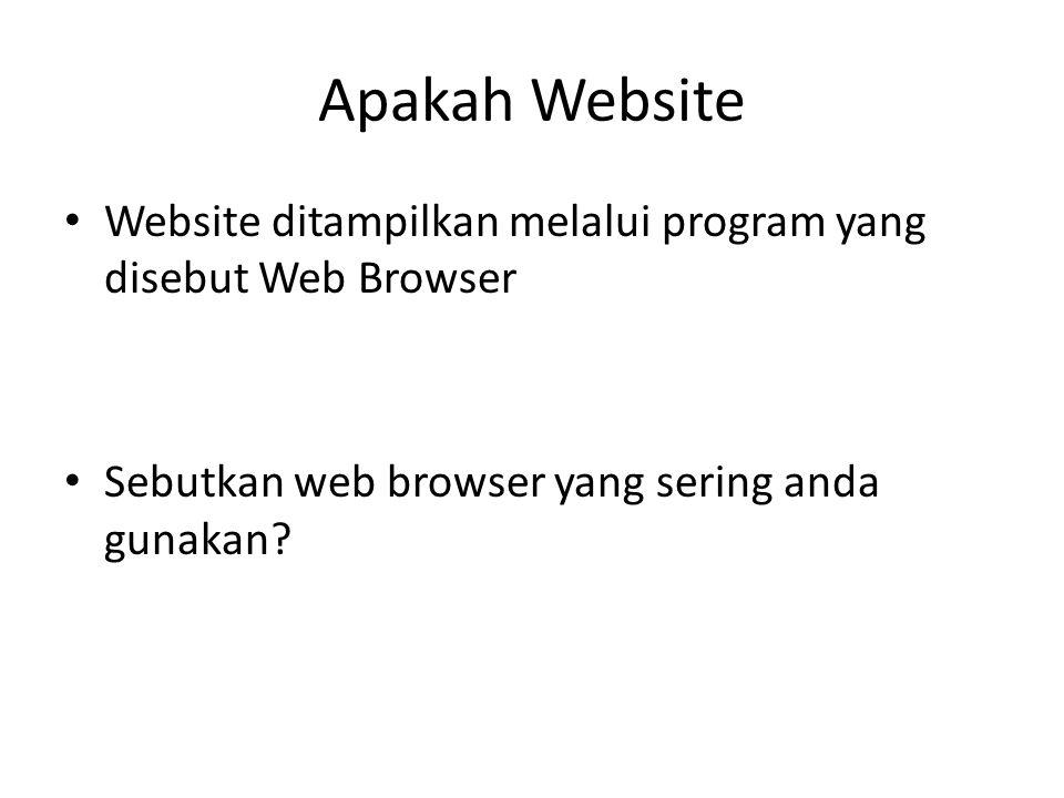 Apakah Website Website ditampilkan melalui program yang disebut Web Browser.