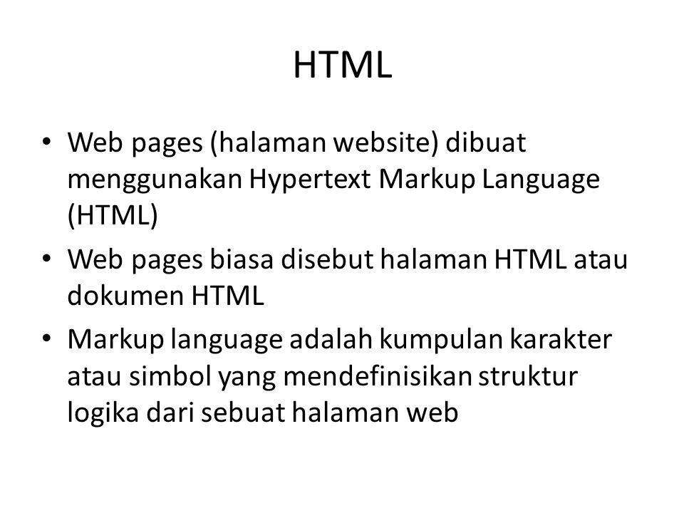 HTML Web pages (halaman website) dibuat menggunakan Hypertext Markup Language (HTML) Web pages biasa disebut halaman HTML atau dokumen HTML.