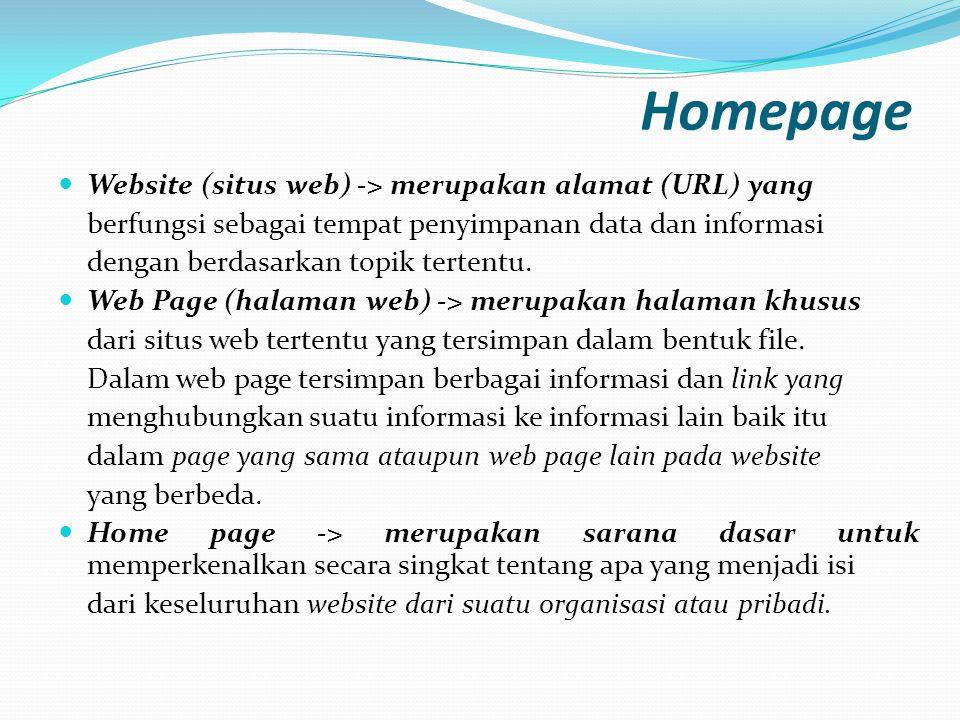 Homepage Website (situs web) -> merupakan alamat (URL) yang