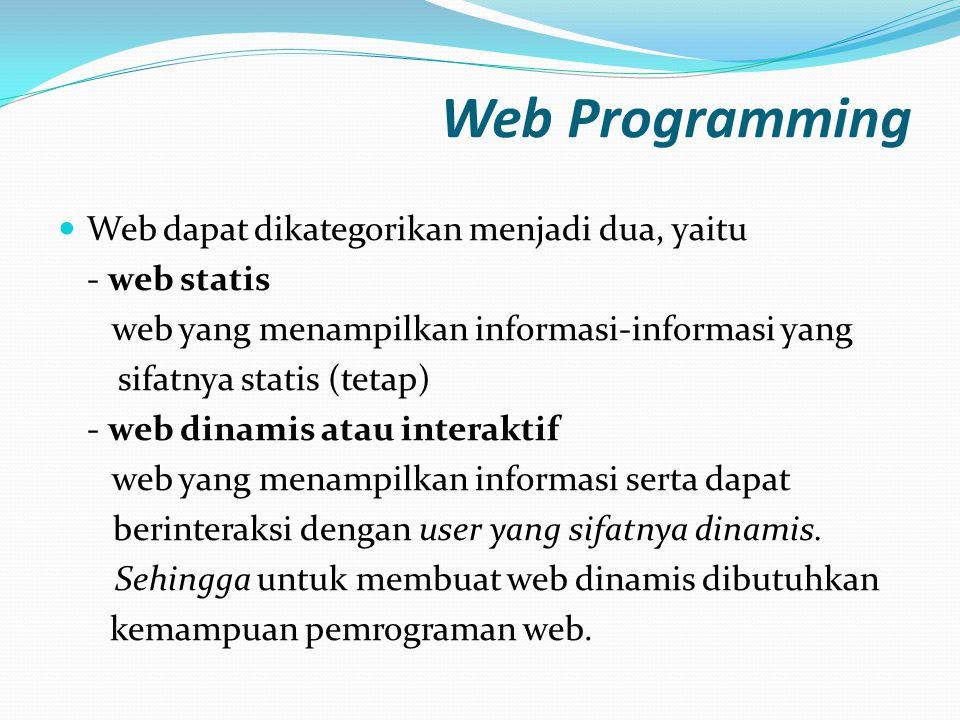Web Programming Web dapat dikategorikan menjadi dua, yaitu