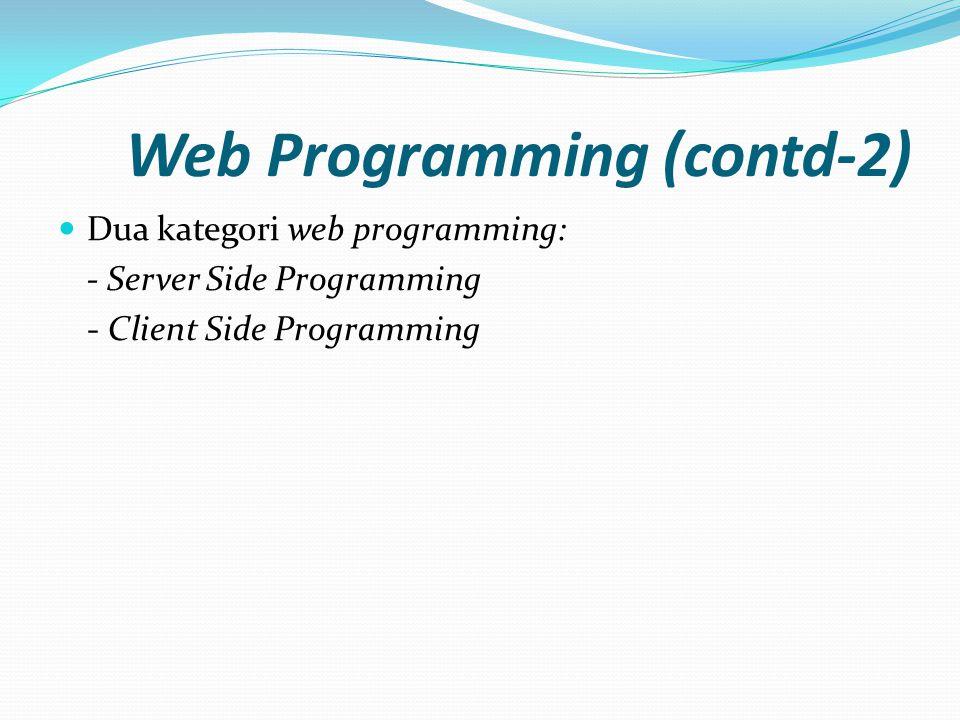 Web Programming (contd-2)