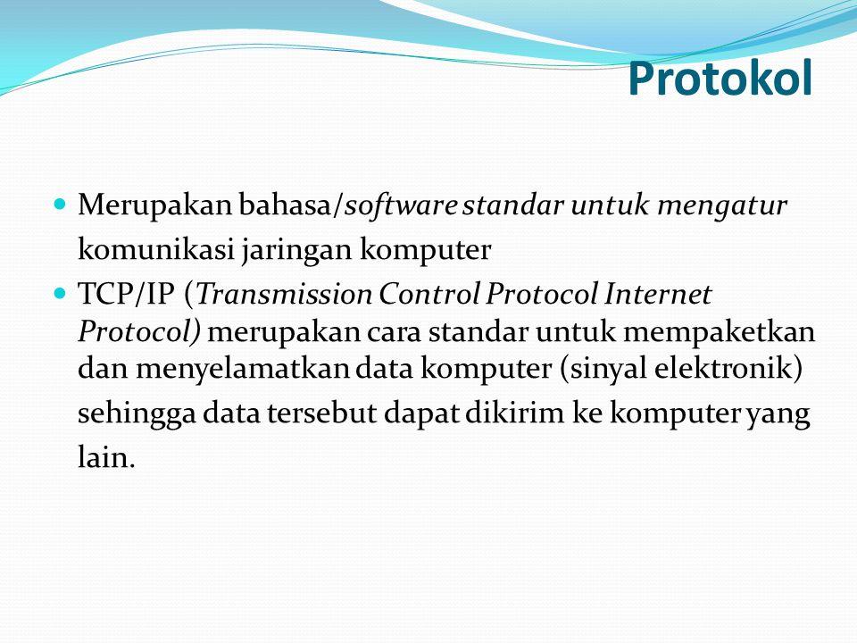 Protokol Merupakan bahasa/software standar untuk mengatur