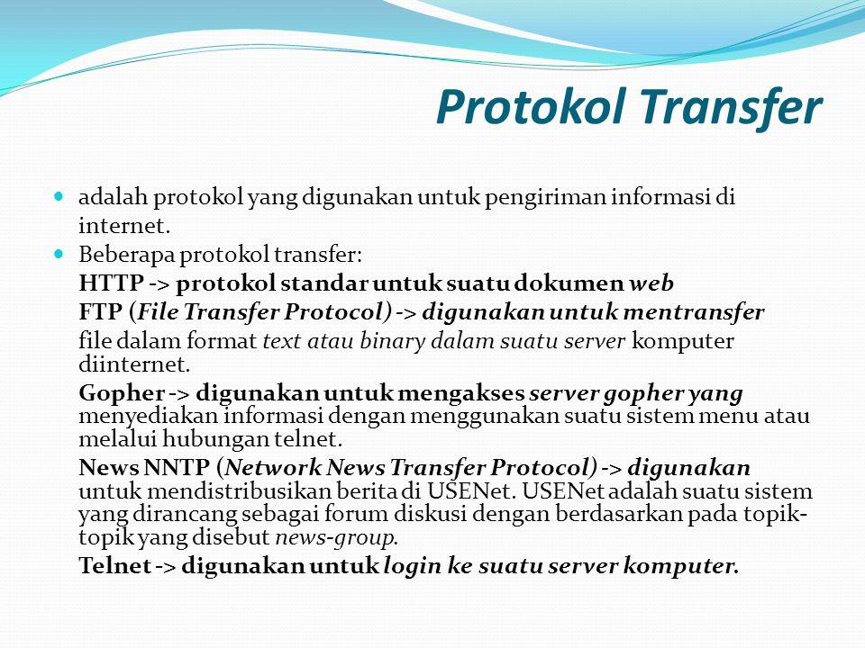 Protokol Transfer adalah protokol yang digunakan untuk pengiriman informasi di. internet. Beberapa protokol transfer: