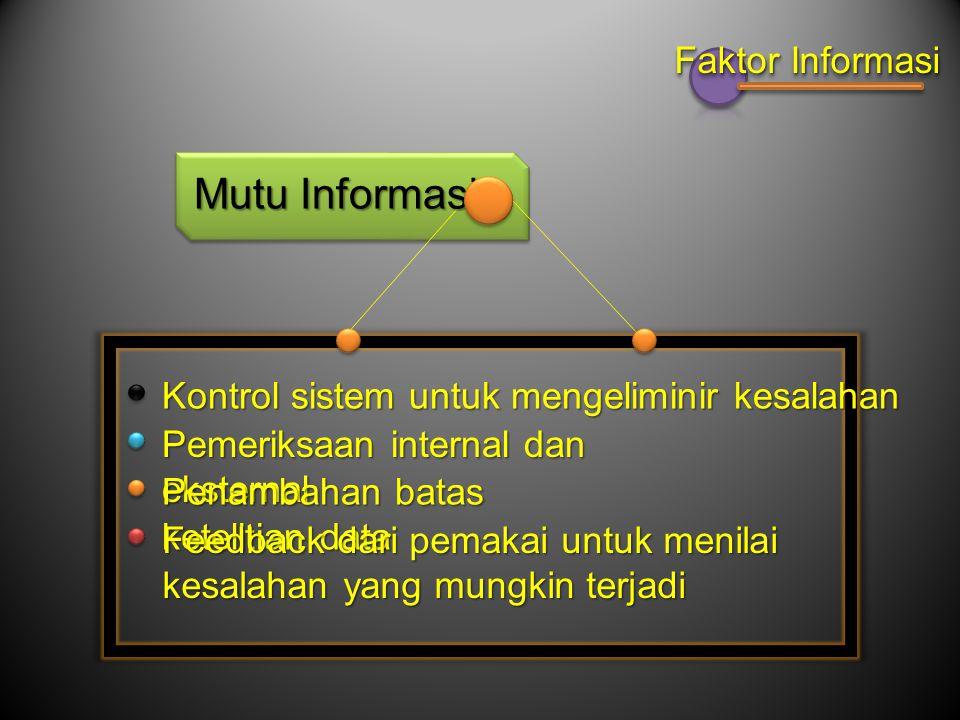 Mutu Informasi Faktor Informasi