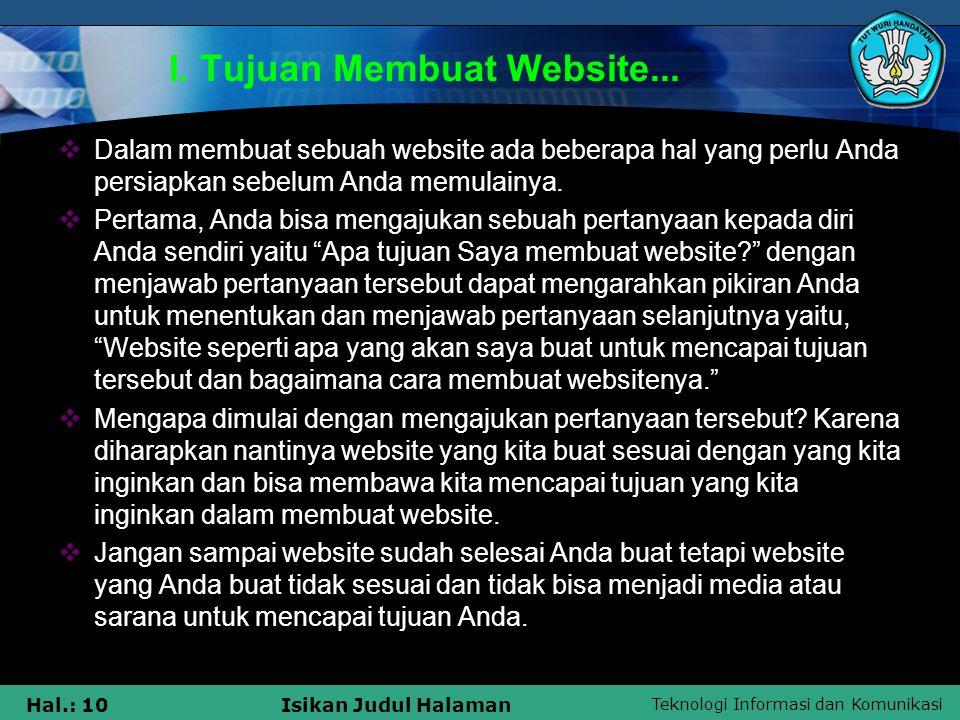 I. Tujuan Membuat Website...