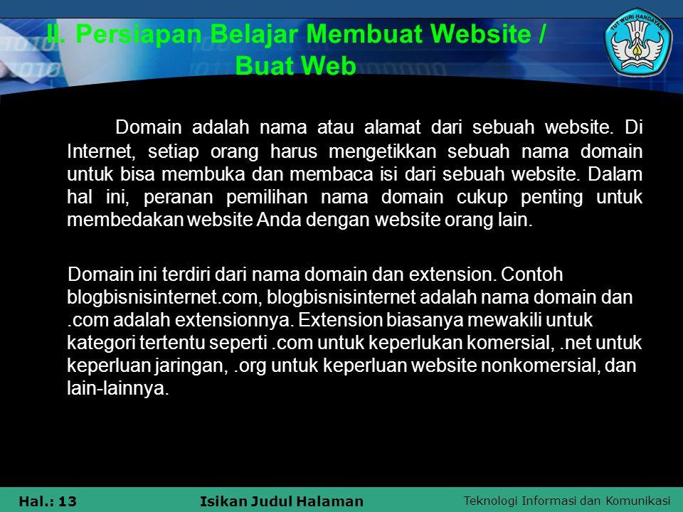 II. Persiapan Belajar Membuat Website / Buat Web