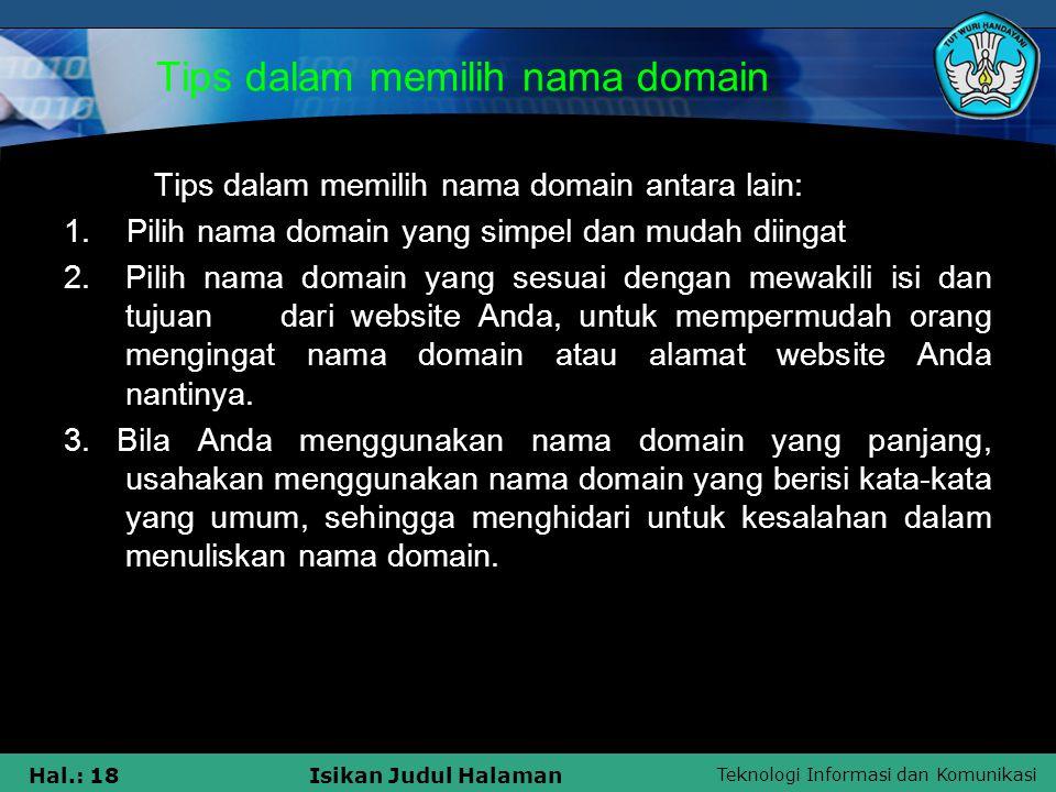 Tips dalam memilih nama domain