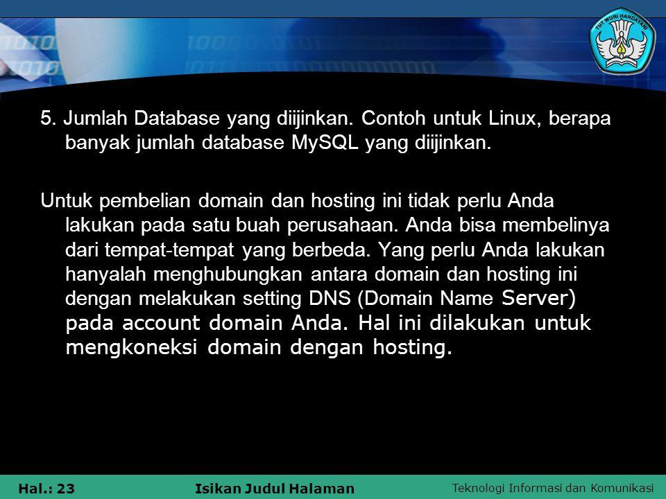 5. Jumlah Database yang diijinkan