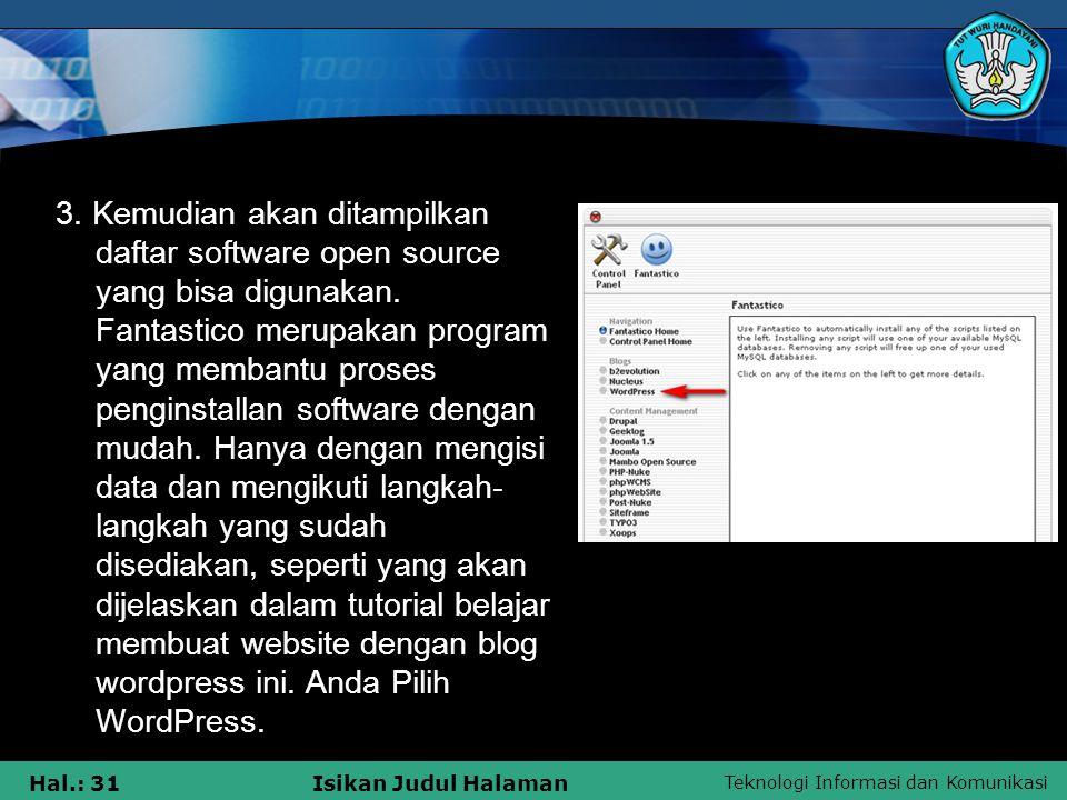 3. Kemudian akan ditampilkan daftar software open source yang bisa digunakan.