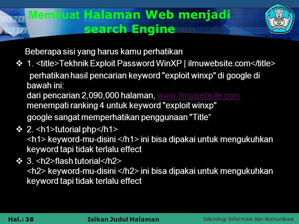 Membuat Halaman Web menjadi search Engine