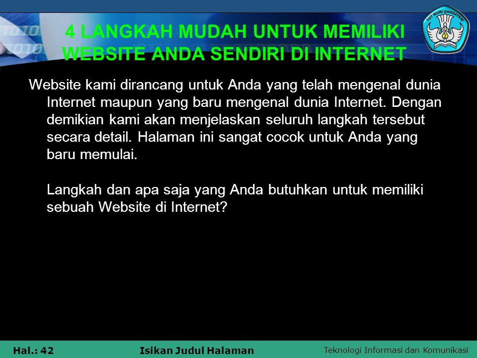 4 LANGKAH MUDAH UNTUK MEMILIKI WEBSITE ANDA SENDIRI DI INTERNET
