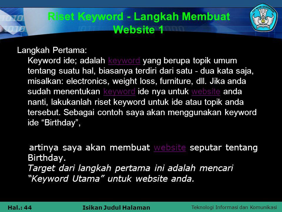 Riset Keyword - Langkah Membuat Website 1