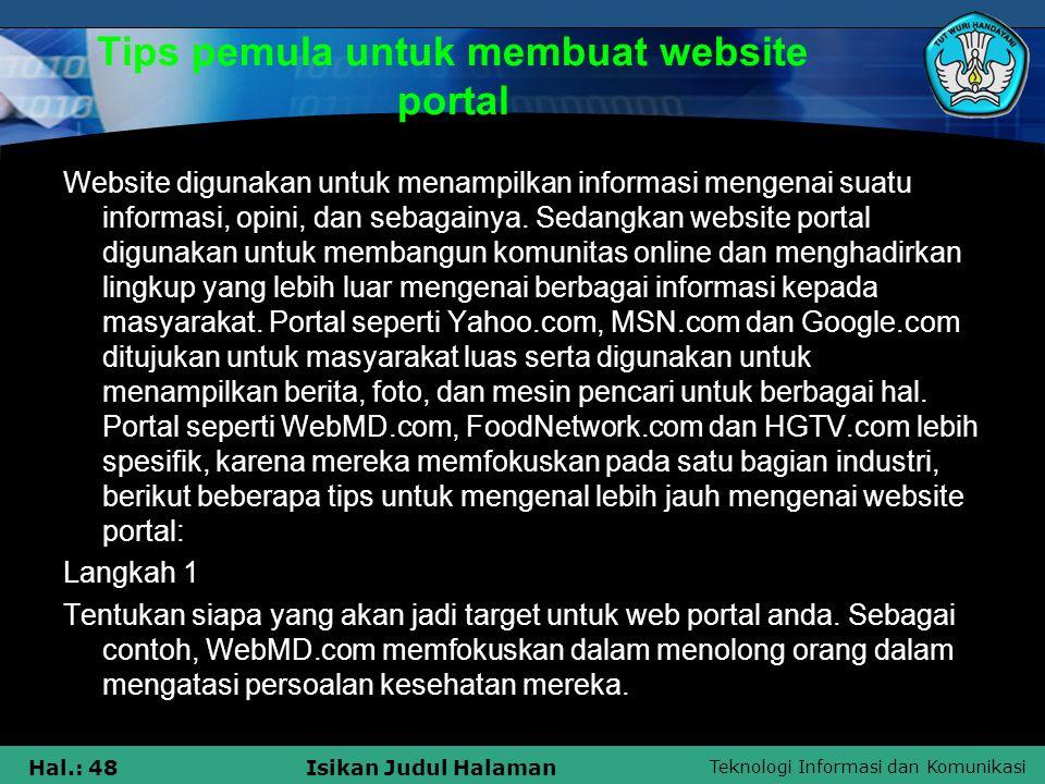 Tips pemula untuk membuat website portal