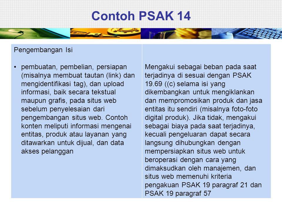 Contoh PSAK 14 Pengembangan Isi