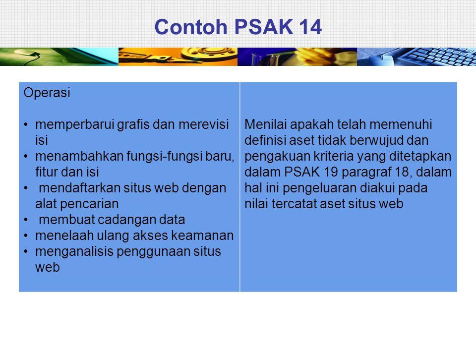 Contoh PSAK 14 Operasi • memperbarui grafis dan merevisi isi