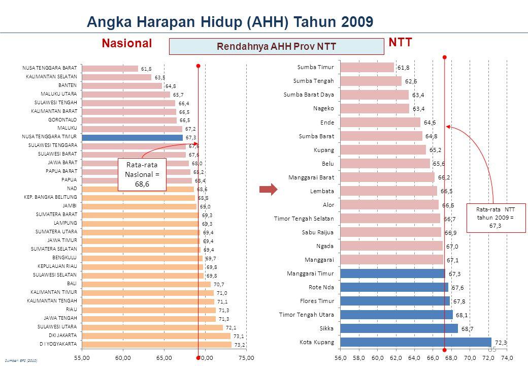 Angka Harapan Hidup (AHH) Tahun 2009