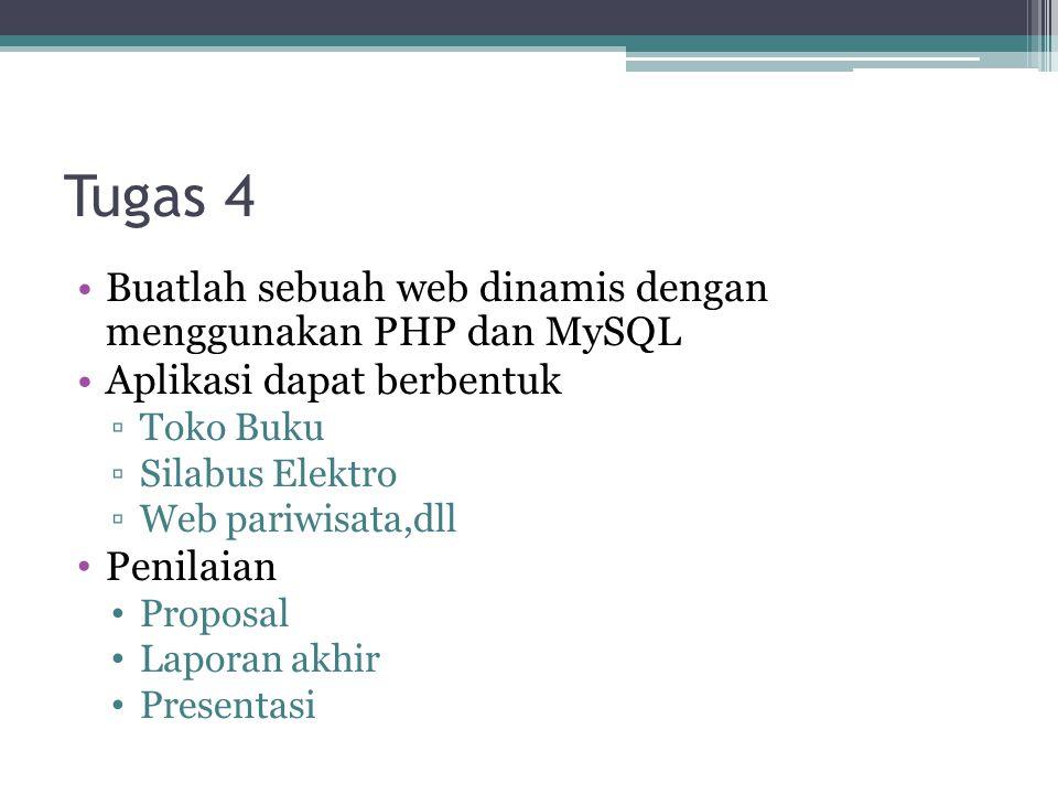 Tugas 4 Buatlah sebuah web dinamis dengan menggunakan PHP dan MySQL