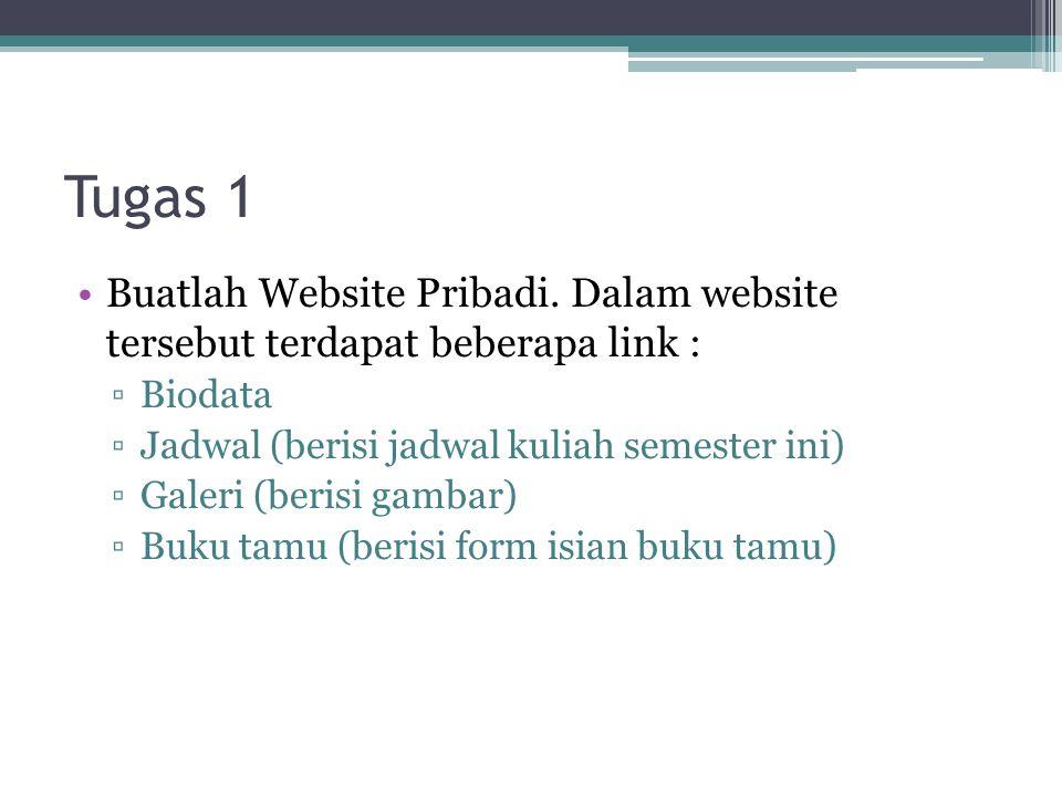 Tugas 1 Buatlah Website Pribadi. Dalam website tersebut terdapat beberapa link : Biodata. Jadwal (berisi jadwal kuliah semester ini)