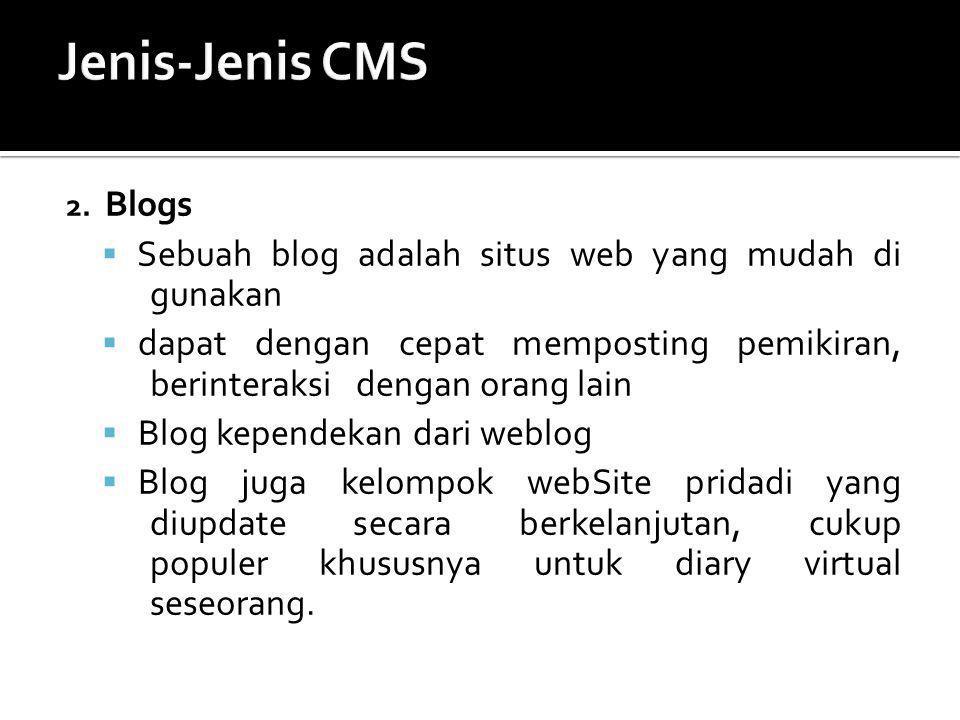 Jenis-Jenis CMS Sebuah blog adalah situs web yang mudah di gunakan