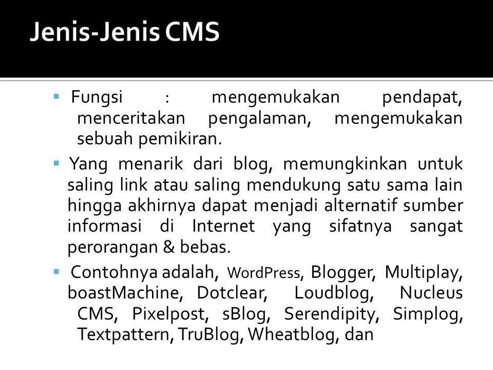 Jenis-Jenis CMS Fungsi : mengemukakan pendapat, menceritakan pengalaman, mengemukakan sebuah pemikiran.