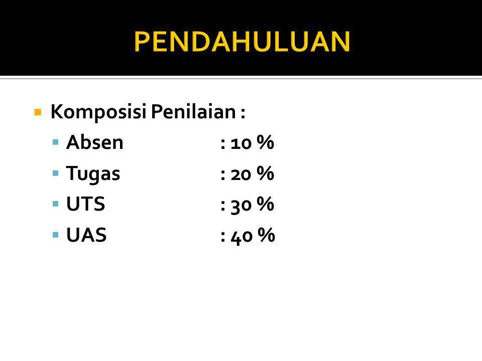 PENDAHULUAN Komposisi Penilaian : Absen : 10 % Tugas : 20 % UTS : 30 %