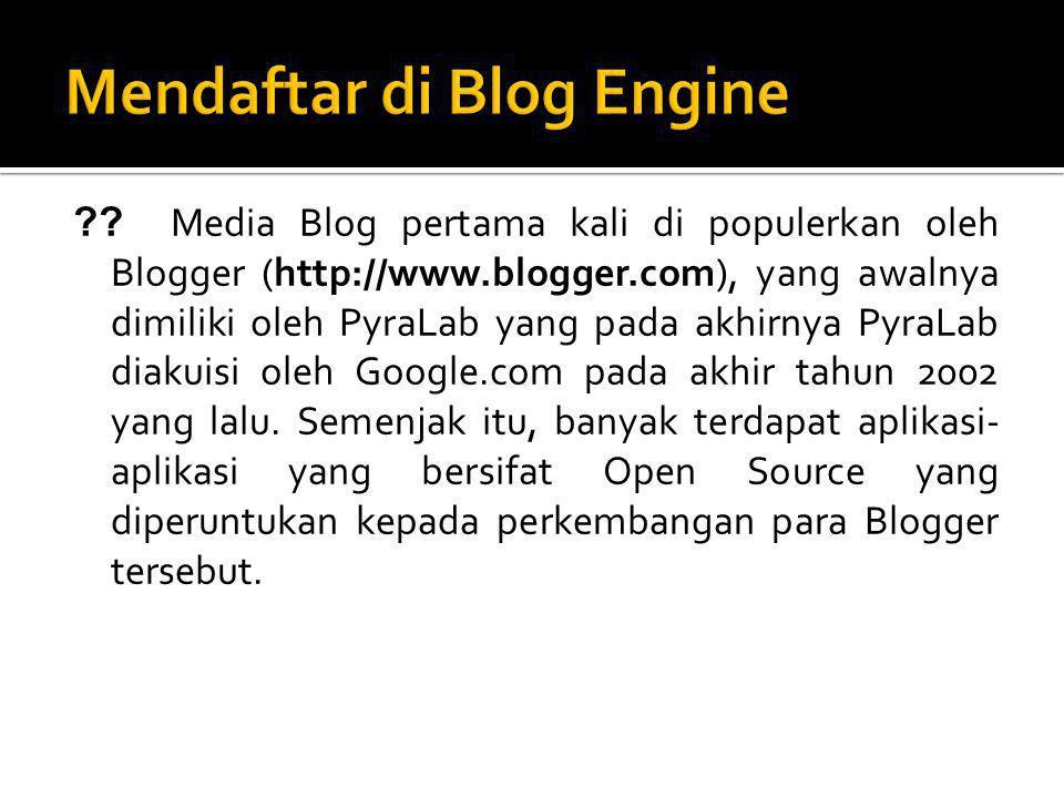 Mendaftar di Blog Engine