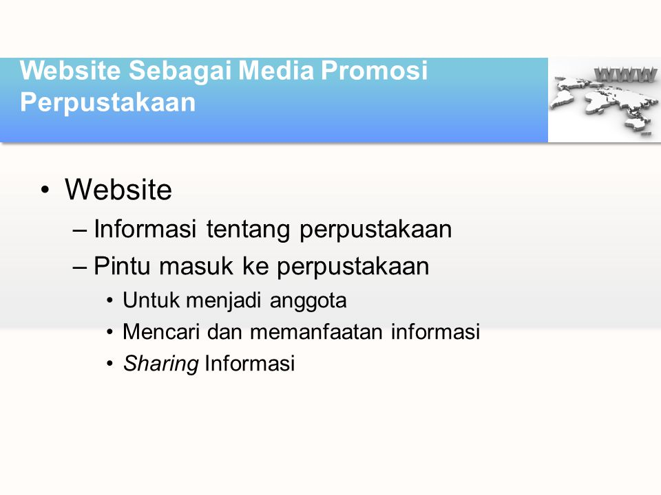 Website Sebagai Media Promosi Perpustakaan