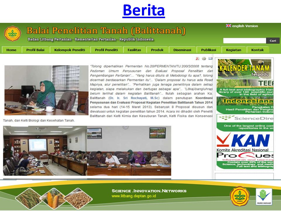 Berita Science .Innovation.Networks www.litbang.deptan.go.id