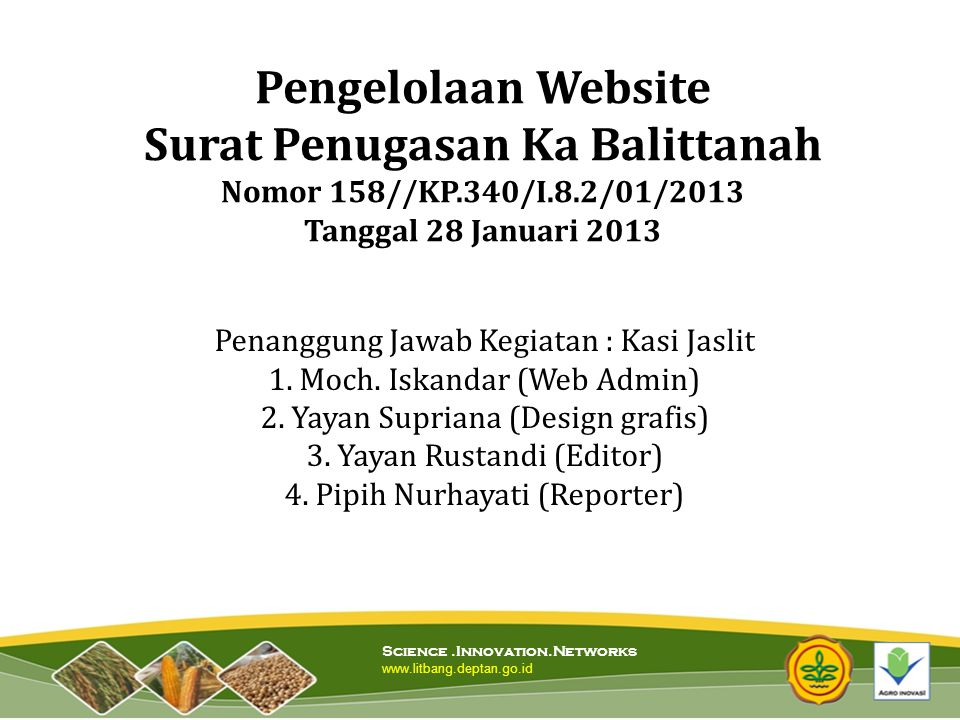 Pengelolaan Website Surat Penugasan Ka Balittanah