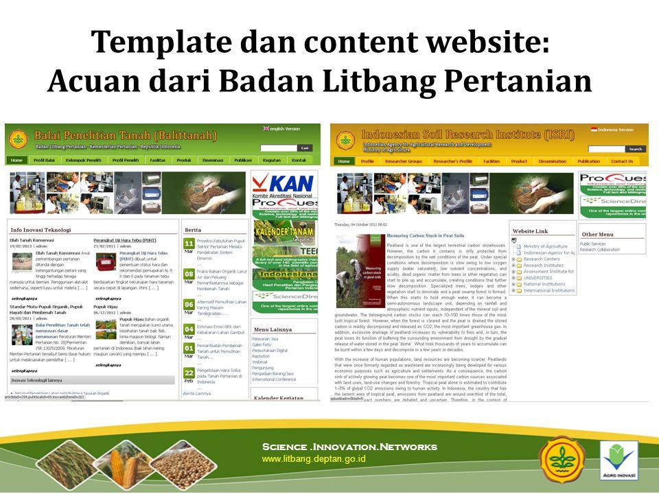 Template dan content website: Acuan dari Badan Litbang Pertanian
