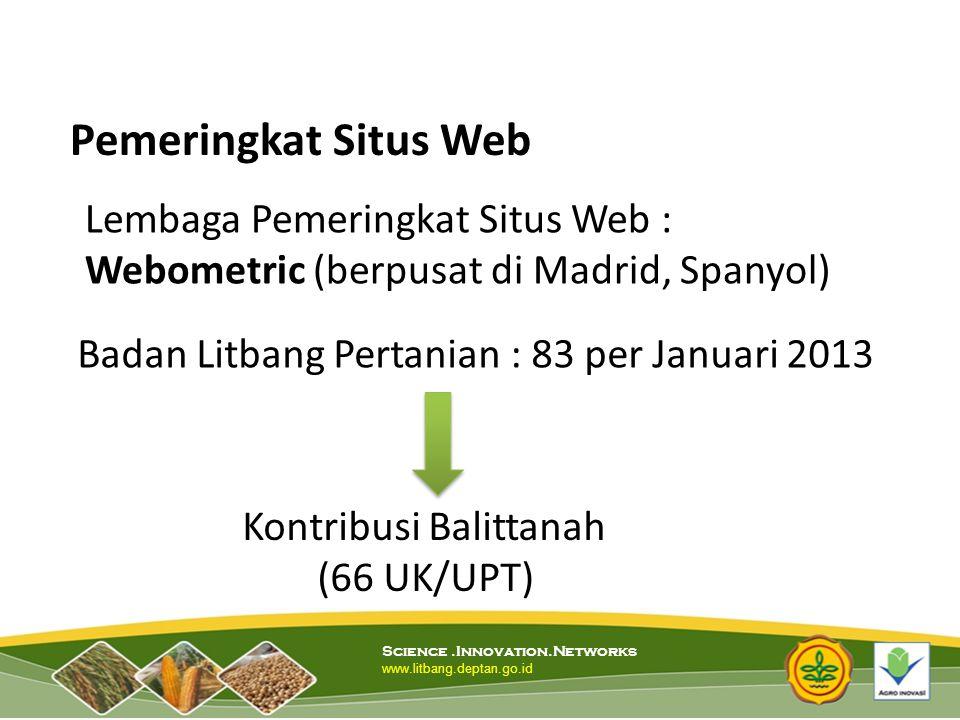 Pemeringkat Situs Web Lembaga Pemeringkat Situs Web : Webometric (berpusat di Madrid, Spanyol) Badan Litbang Pertanian : 83 per Januari 2013.