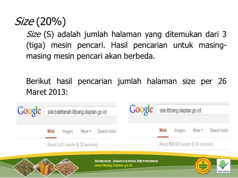 Size (20%) Size (S) adalah jumlah halaman yang ditemukan dari 3 (tiga) mesin pencari. Hasil pencarian untuk masing-masing mesin pencari akan berbeda.