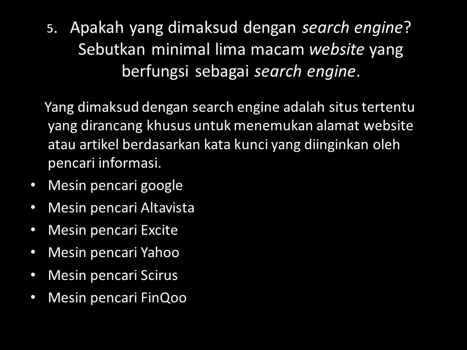 Mesin pencari Altavista Mesin pencari Excite Mesin pencari Yahoo