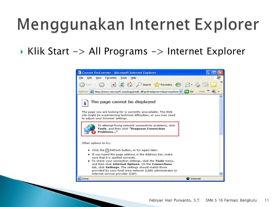 Menggunakan Internet Explorer