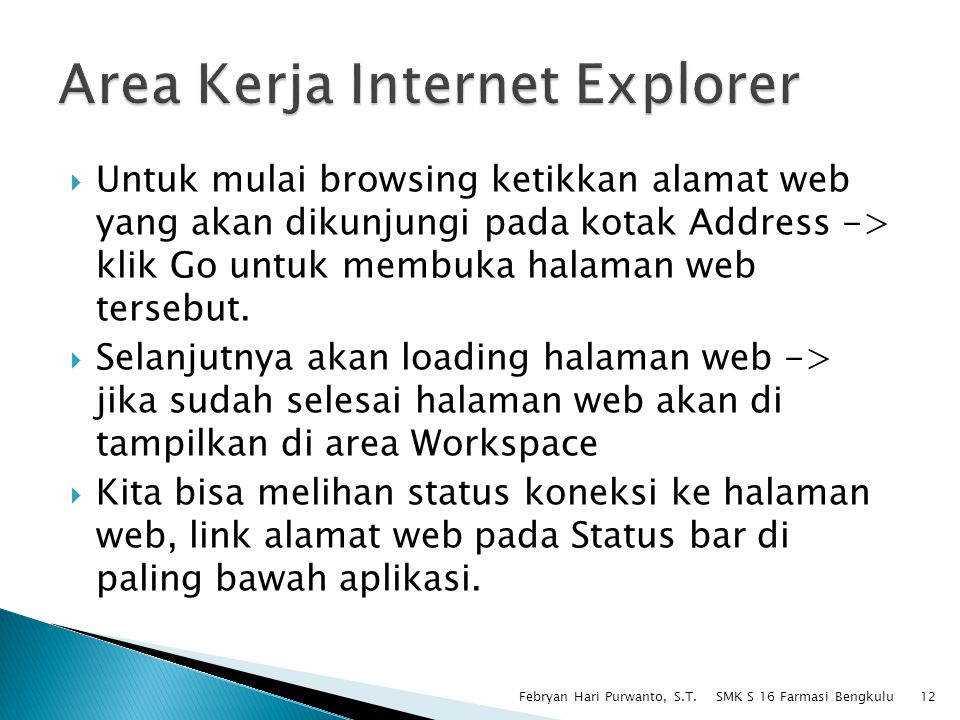 Area Kerja Internet Explorer