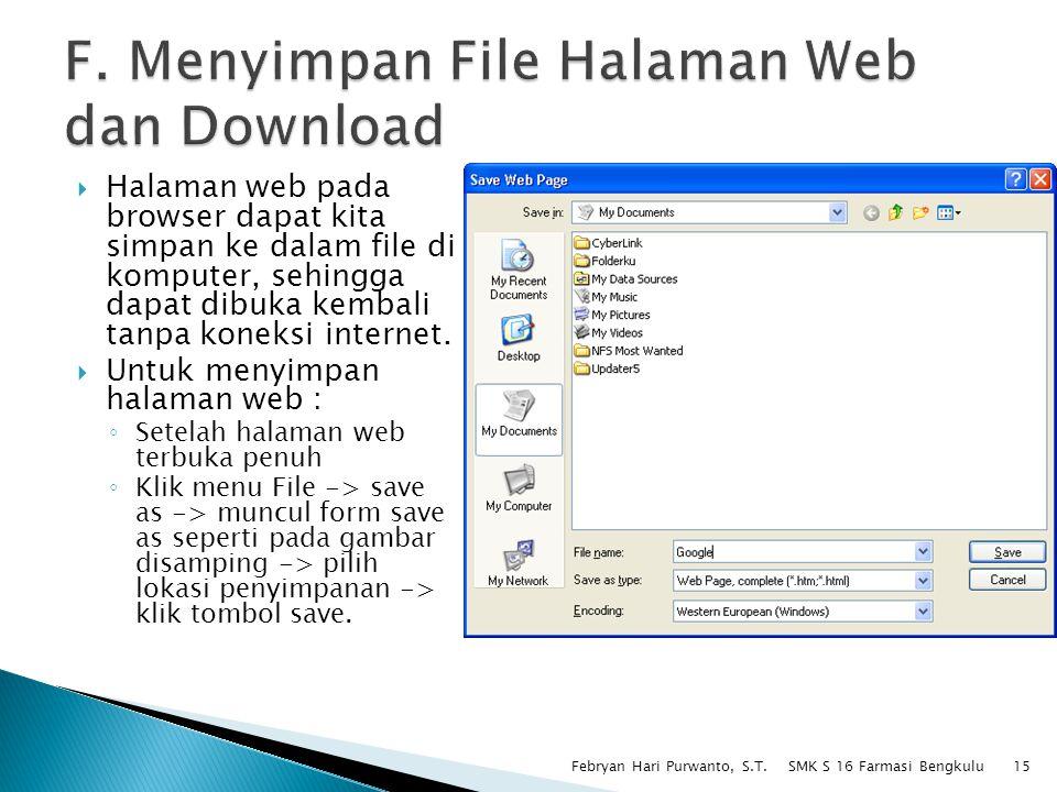F. Menyimpan File Halaman Web dan Download