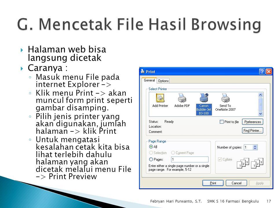 G. Mencetak File Hasil Browsing