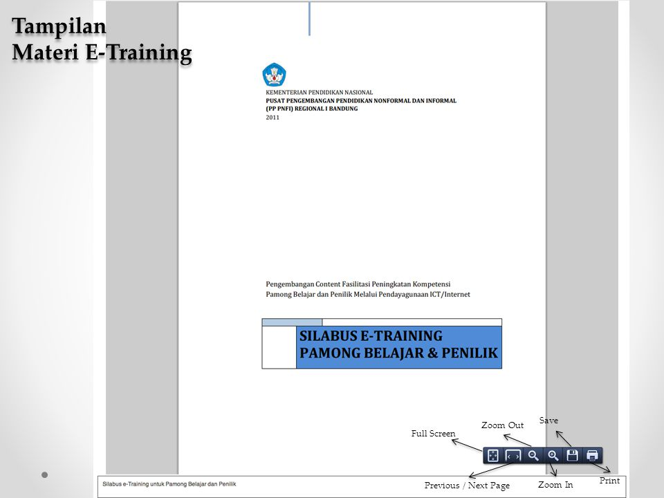 Tampilan Materi E-Training Save Zoom Out Full Screen Print
